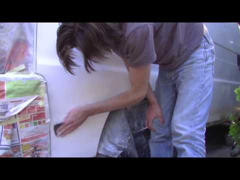5b Hack and Pack My Van, back right side body repair sanding, applying paint