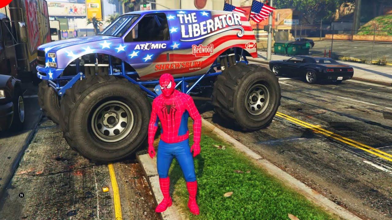 spiderman et voiture monster truck youtube. Black Bedroom Furniture Sets. Home Design Ideas
