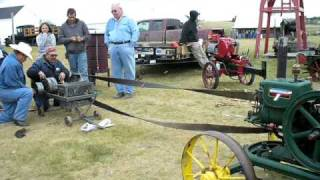 Homemade tractor  Bloodax hooked to a prony brake  stationary engine