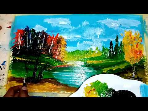 How to paint Easy Abstract Landscape  painting beginners