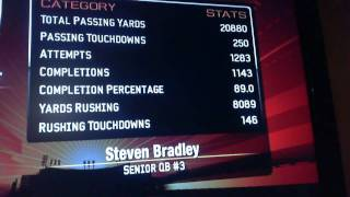 NCAA Football 2010 (PS3) Road To Glory Final Stats