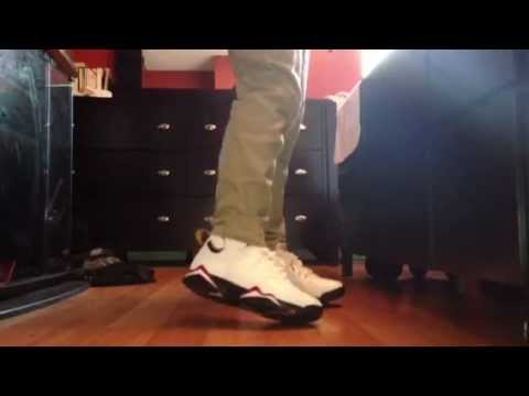 f1cdbdd5dba745 Air Jordan 7 Cardinal on feet! - YouTube