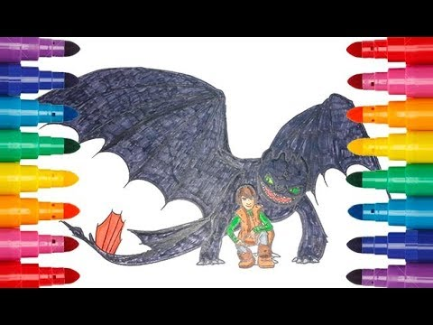 How To Train Your Dragon Toothless And Hiccup Coloring Как приручить дракона раскраска