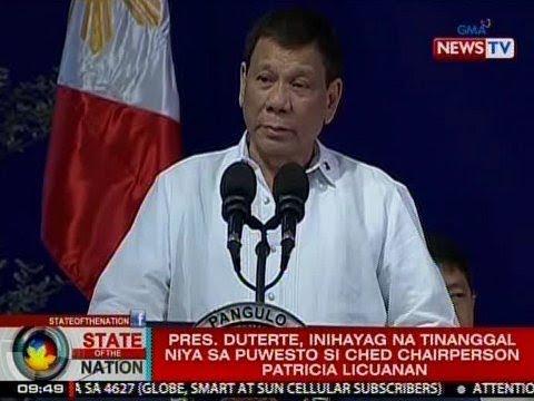 SONA: Pang. Duterte, inihayag na tinanggal niya sa puwesto si CHED Chairperson Licuanan