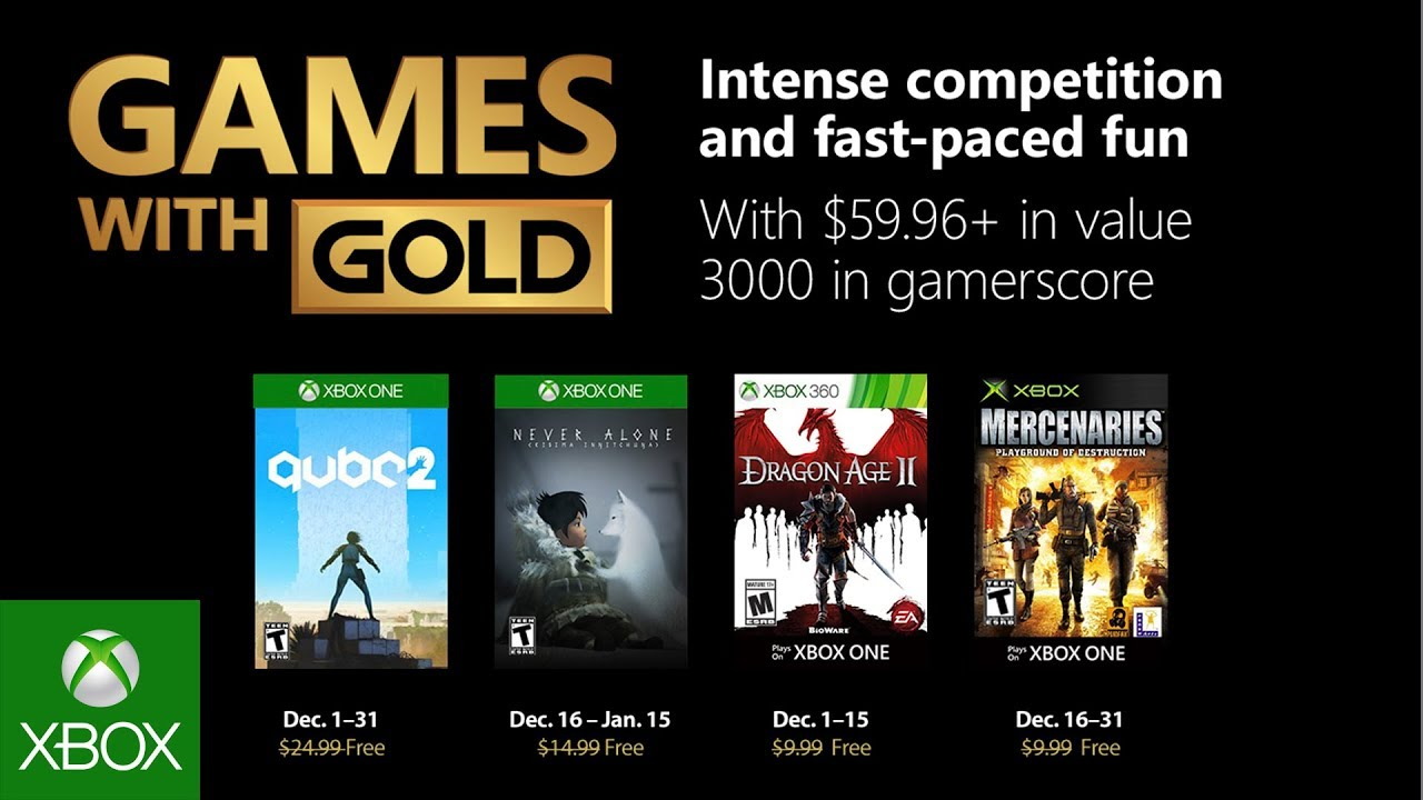 Xbox December 2018 Games With Gold Youtube