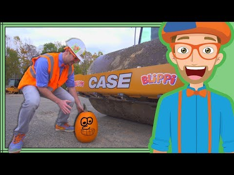 Blippi Halloween   Crushes Pumpkin with Roller Construction Vehicle