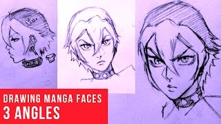 How To Draw Manga Face: 3 Different Angles [Female]