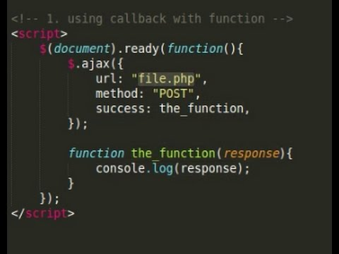 Jquery tutorial - 2 ways ajax return outside of ajax object