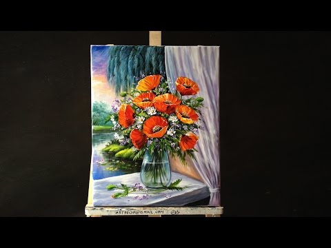 Bouquet Of Poppies In Glass Vase On Windowsill Acrylic Paint