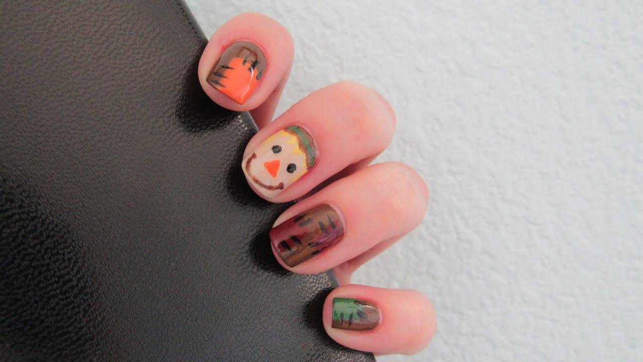 autumn scarecrow nail art design