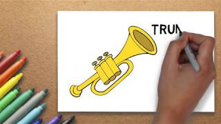 How to Draw a Trumpet  [ for Young Artist ]   Massive Kidszone