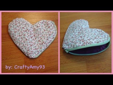 DIY Heart Zippered Pouch