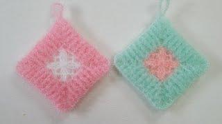 코바늘 수세미/사각사각수세미  Crochet  Dish…