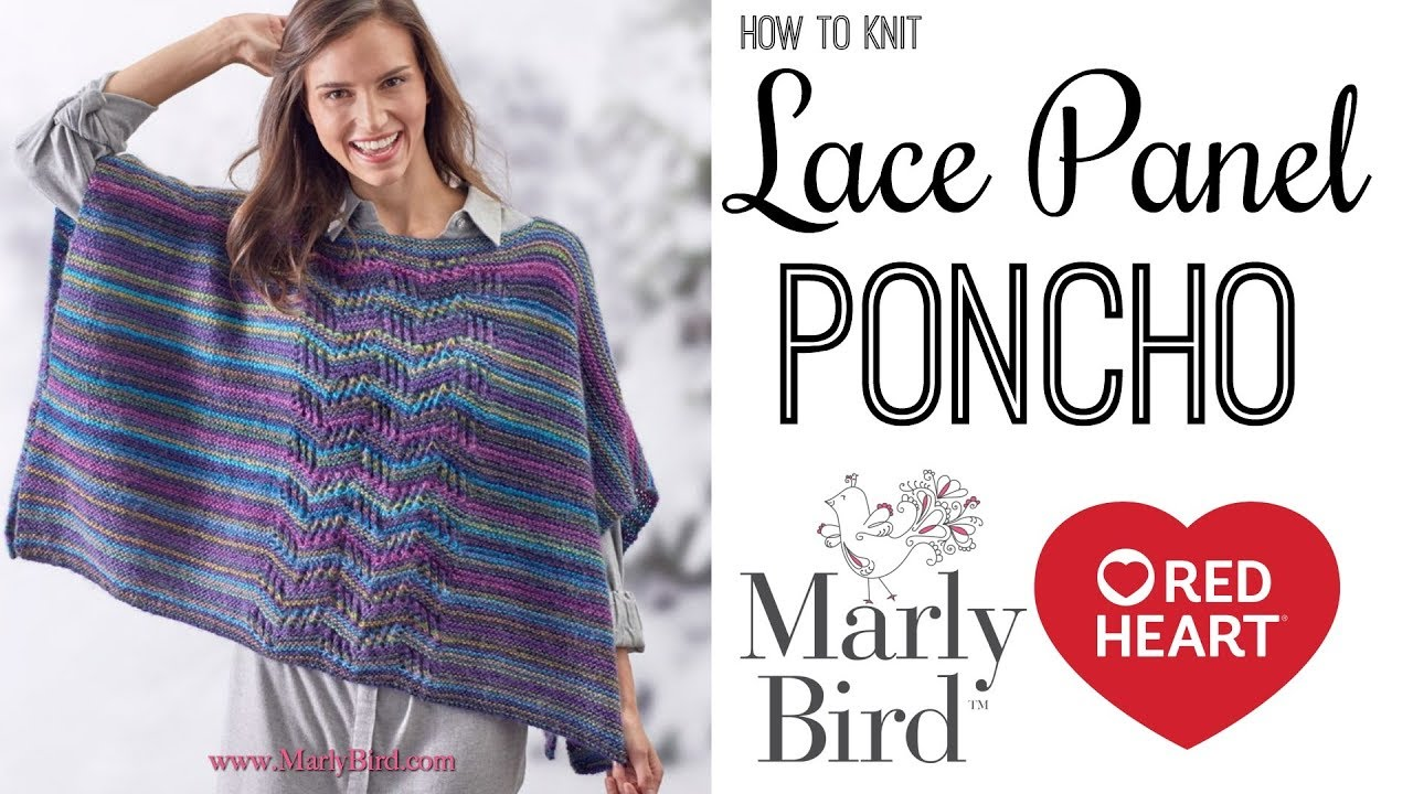 How to Knit Beginner Lace Panel Poncho - YouTube