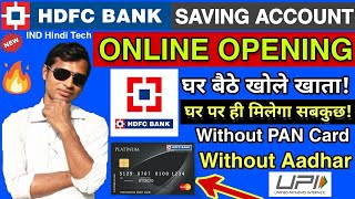 How to open HDFC Bank Account Online || Hdfc bank Account opening without pancard & without aadhar🔥