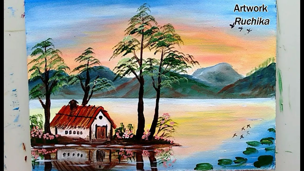 Simple Landscape Painting Easy Mountain Painting