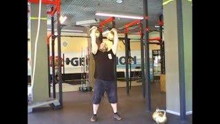 Парный швунг гирь 52,3кг+52,3кг стоя. Double kettlebells 52,3kg+52,3kg push press.