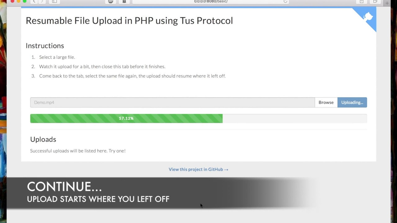 Resumable File Upload In Php Using Tus Protocol V1 0 0 Demo Youtube