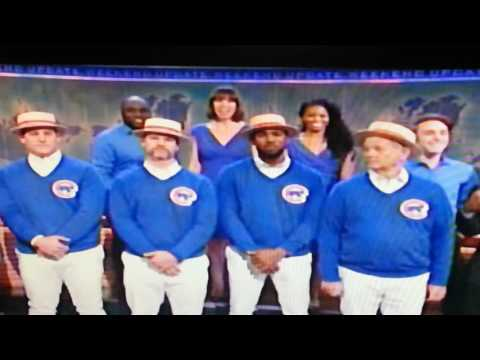 Chicago CUBS' Anthony Rizzo, David Ross, Dexter Fowler with Bill Murray singing  GO CUBS GO at SNL.