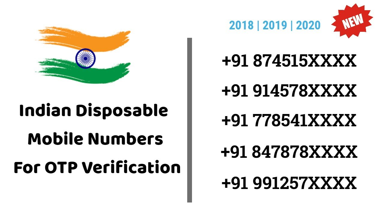 Indian numbers for OTP verification 2019 | 2020 | 2021