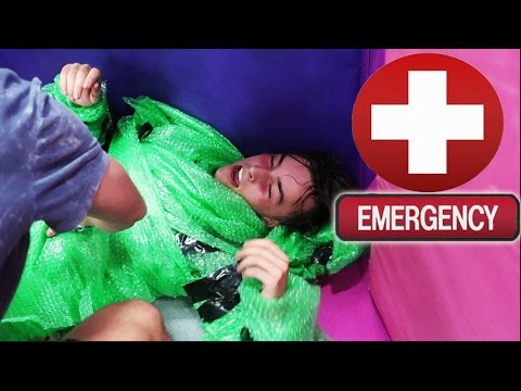 TRAMPOLINE PARK BUBBLE WRAP SUIT GONE VERY WRONG *PASSED OUT/HEAT STROKE*
