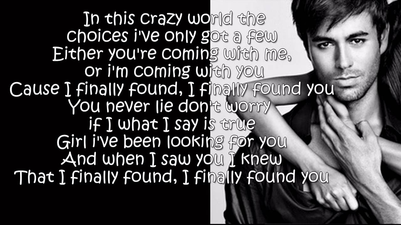 Enrique Iglesias - Finally Found You (Lyrics On Screen ...
