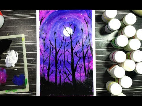 Forest painting at night | acrylic colour |