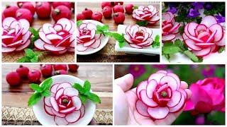 Super Salad Decoration Ideas - Red Radish Flowers Carving Garnish