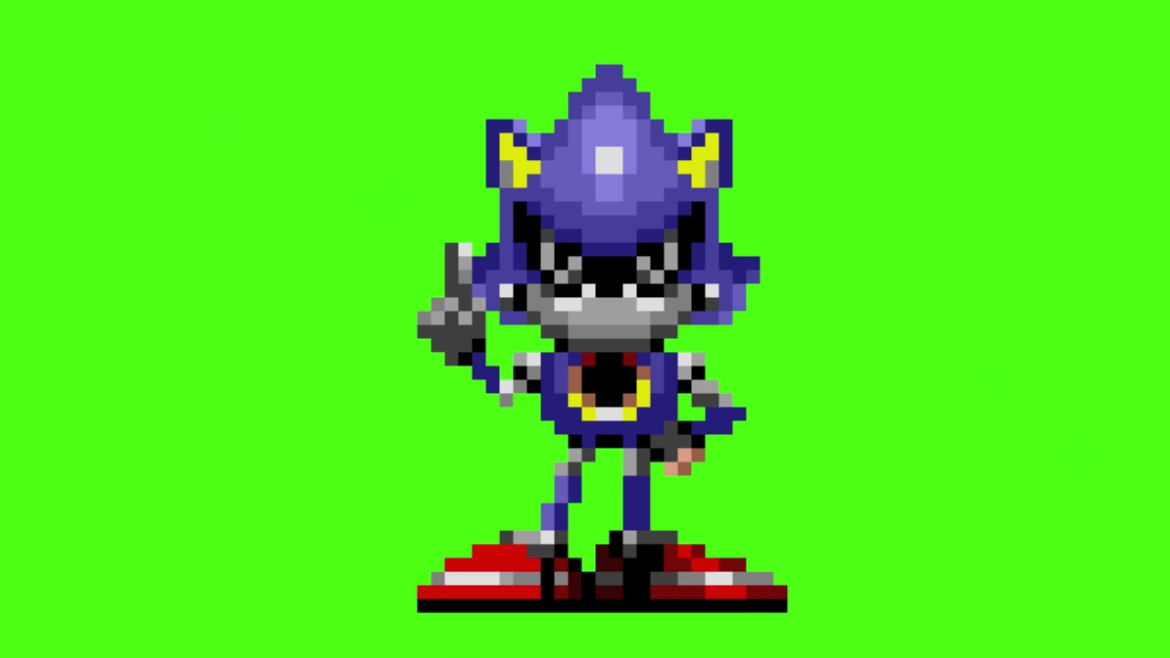 metal sonic looks at the screen and wags his finger in a two frame ...