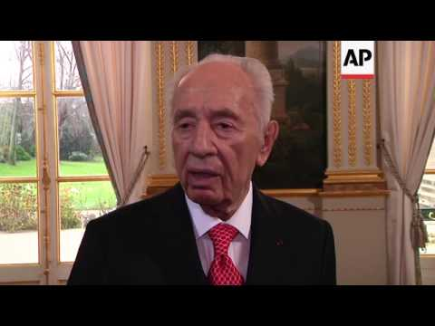 Shimon Peres meets French president Francois Hollande, comments on Hamas