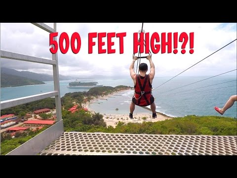 Insane 500 Foot High Zipline over the Ocean - Dragon's Breat