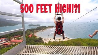 Insane 500 Foot High Zipline over the Ocean - Dragon's Breath, Labadee