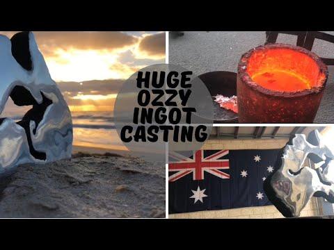Huge Australian Ingot Casting From ScrapMetal - Trash To Treasure - Melting Metal