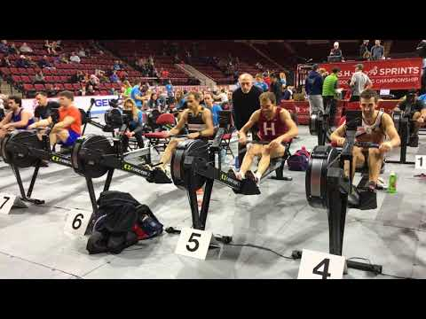 Ed Baker Uber fast time to win CRASH-B indoor rowing championship sprint in Boston on 2/25/18