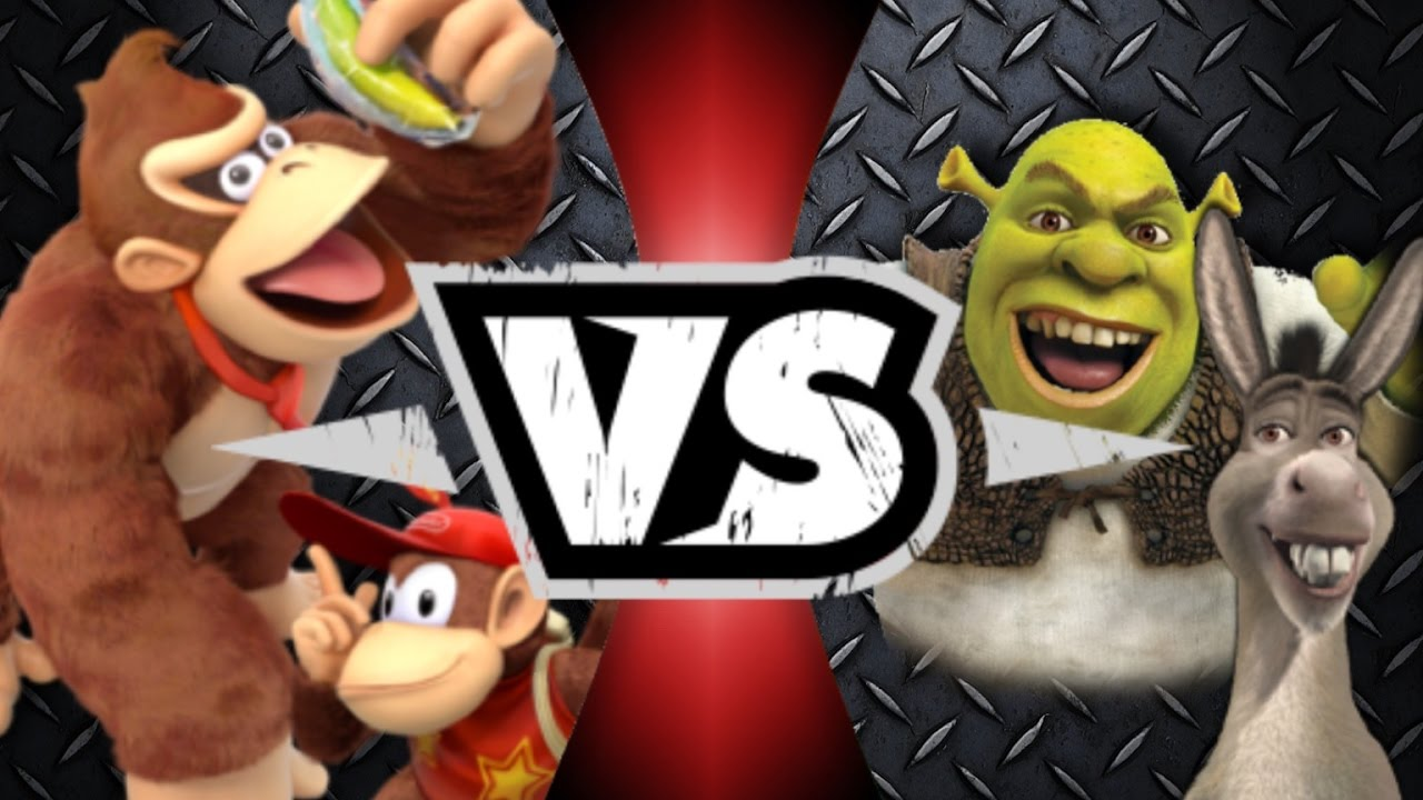 Shrek and Donkey VS Donkey Kong And Diddy Kong | Awesome ...