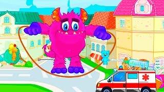 Мультфильмы для детей Машинки Пожарная и скорая помощь против МОНСТРА Папа-Пальчик Песни для детей