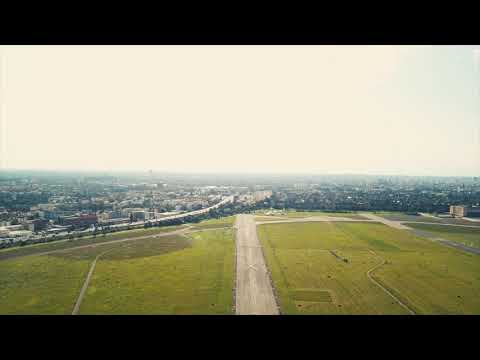 Drone Flying on Airport Runway 4K Mavic DJI Pro
