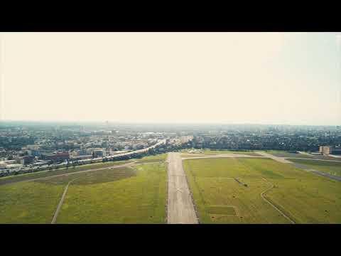 Drone Flying on Airport Runway 4K Mavic DJI Pro
