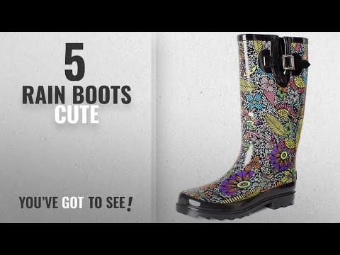 Top 5 Rain Boots Cute [2018]: SheSole Women's Waterproof Rubber Rain Boot Black US 9