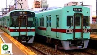 西鉄7000形(VVVFマークつき)&6050形すれ違い 平尾駅 2010年10月14日