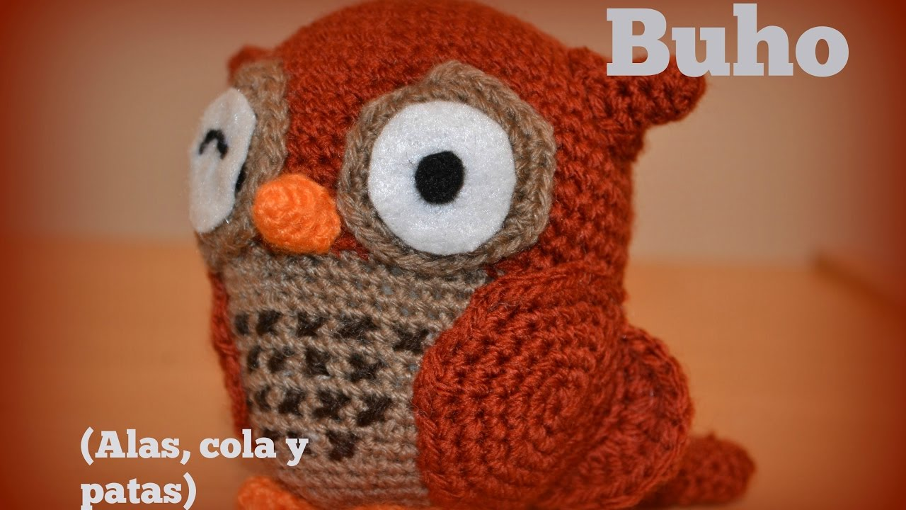 Búho (alas, cola y patas) || Crochet o ganchillo. - YouTube