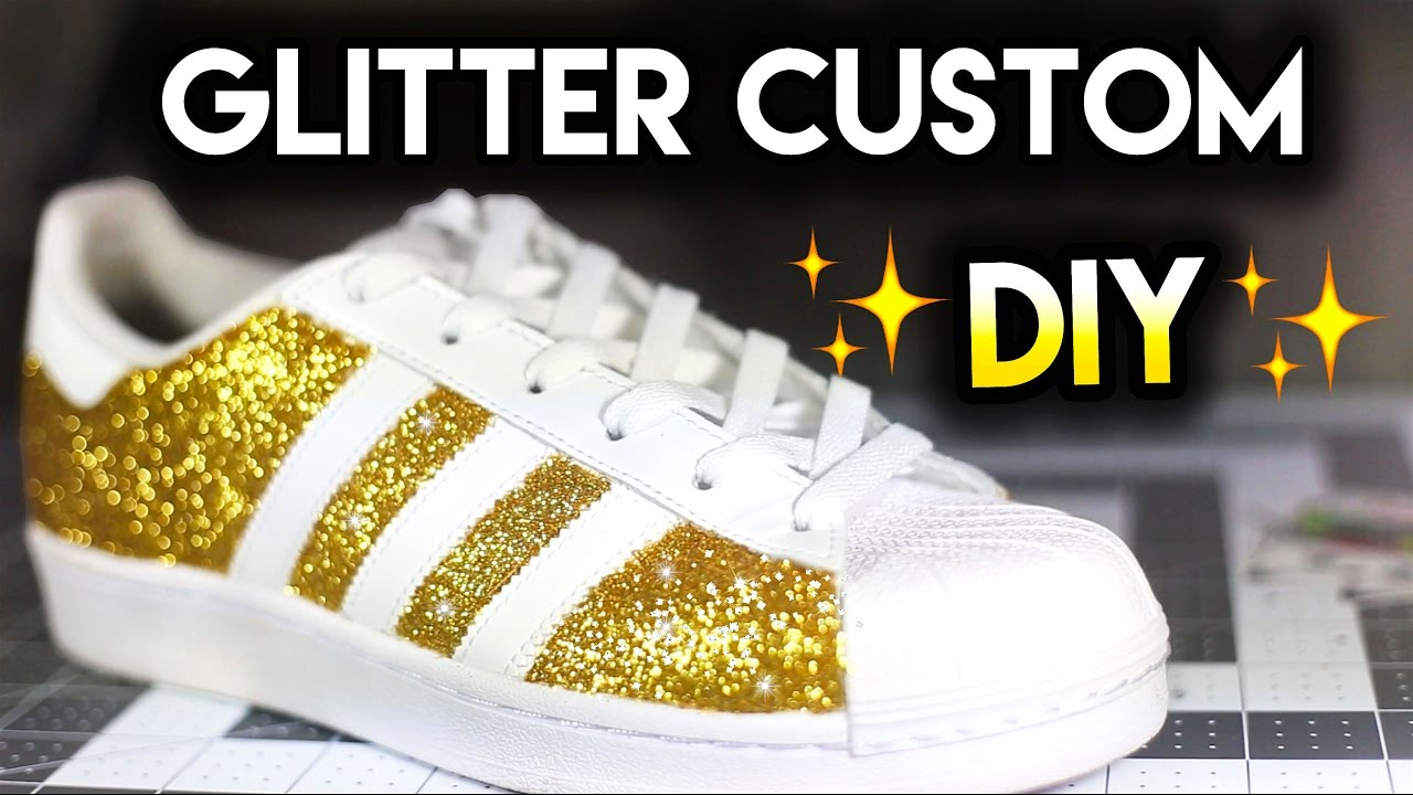 How To: Double Sparkle Non Shedding Glitter Shoes | Adidas Superstar Custom  Tutorial - YouTube