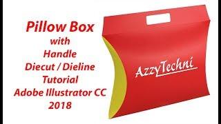 Pillow Box with Handle Diecut / Dieline Adobe Illustrator CC 2018