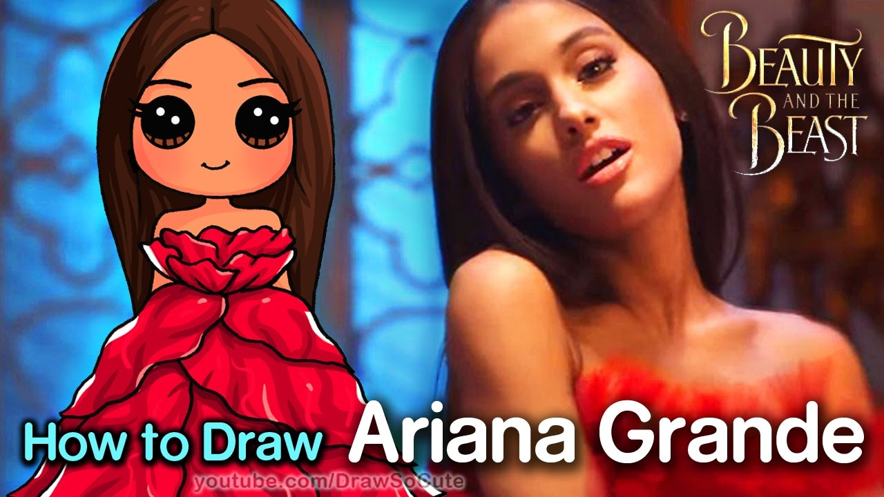 How to draw ariana grande beauty and the beast music video