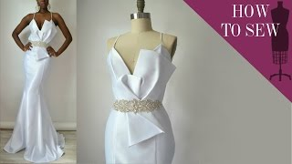 How To Sew A Satin Open Back Mermaid Style Wedding Gown