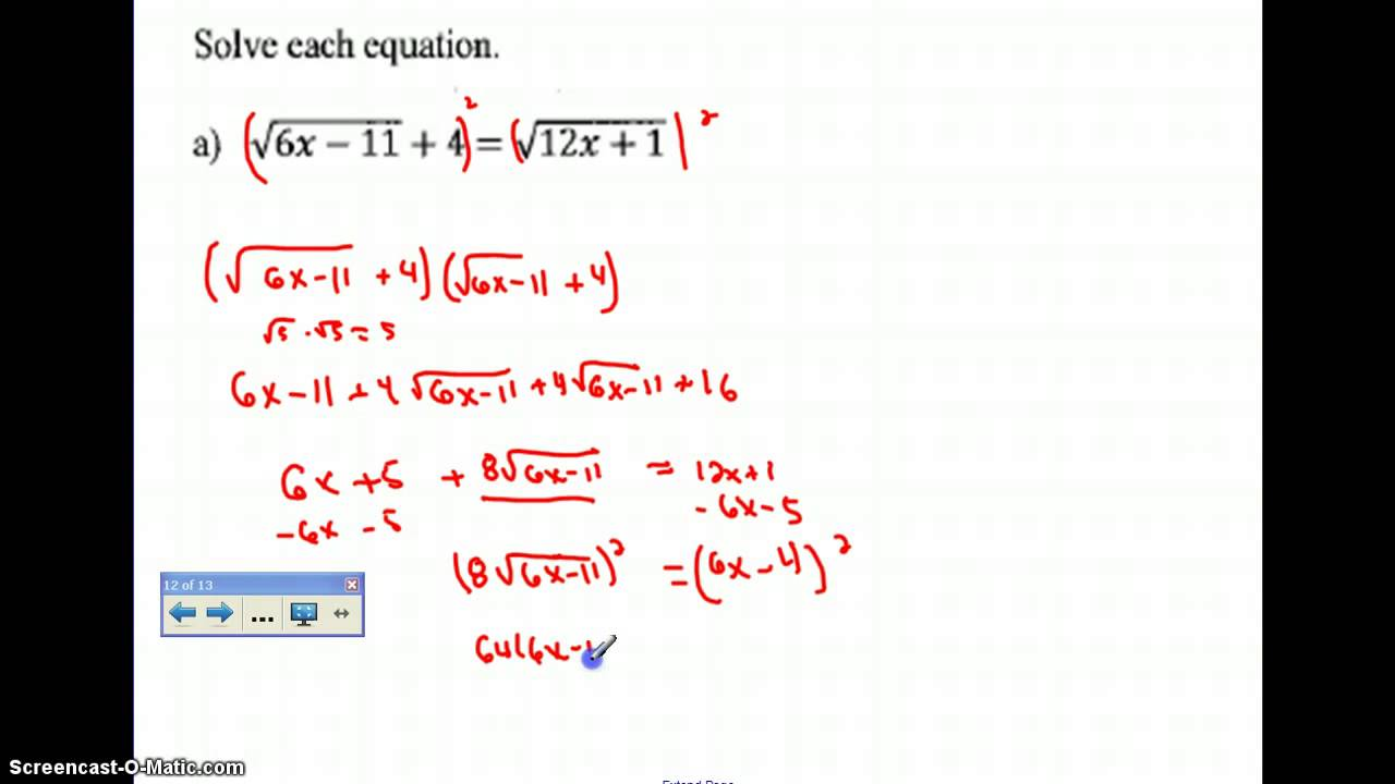 Solving Radical Equations with Radicals on Both Sides YouTube – Solving Radical Equations Worksheet