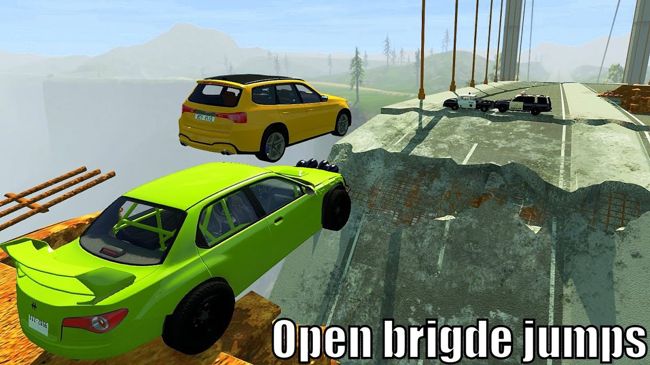 Open Bridge Jump With Police Roadblock - BeamNG.drive Insane Police Roadblocks Crashes