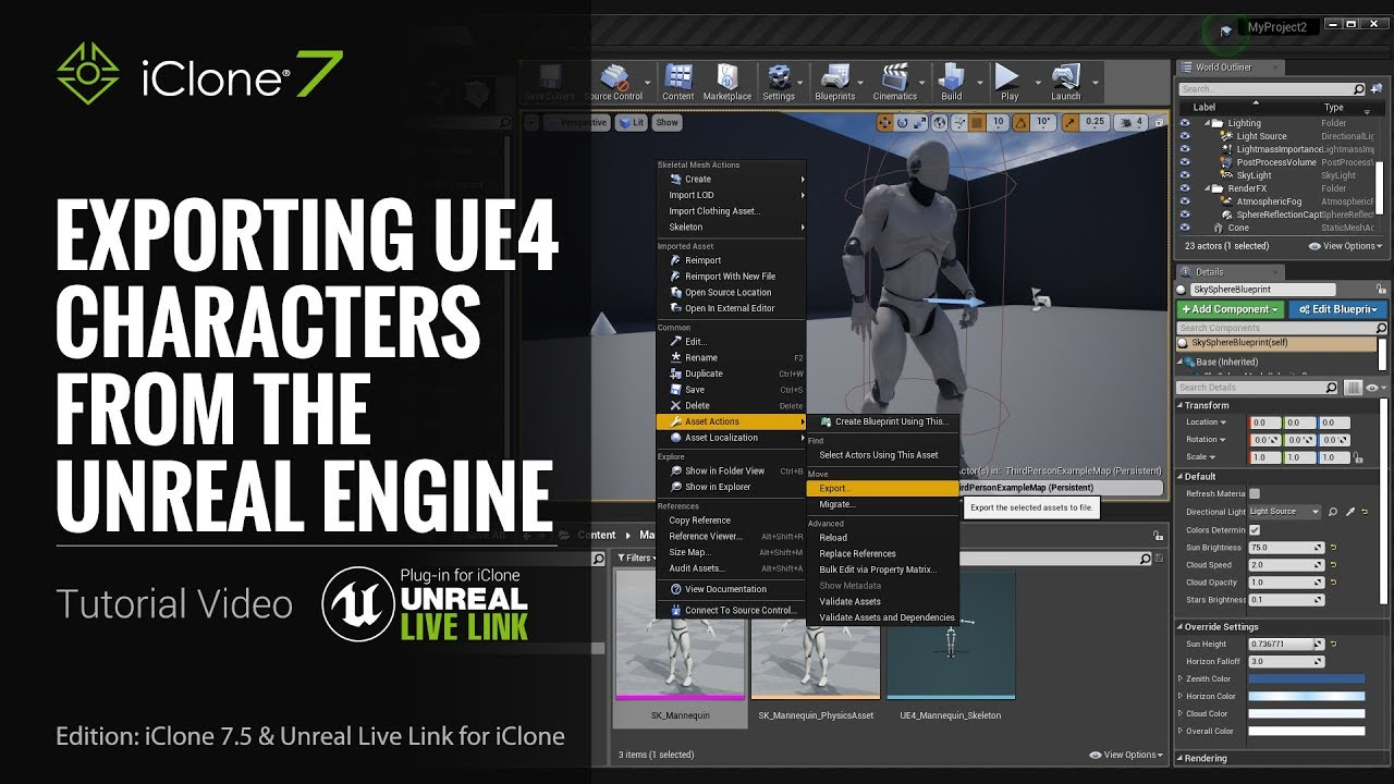 Unreal Live Link Plug-in Tutorial - Exporting UE4 Characters from the  Unreal Engine