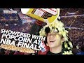 SHOWERED WITH POPCORN AT THE NBA FINALS 2017