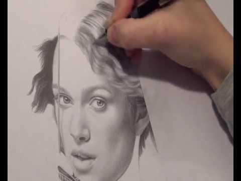 Keira Knightley – Bleistiftportrait. Realistisch Haare zeichnen. (Videoausschnitt).